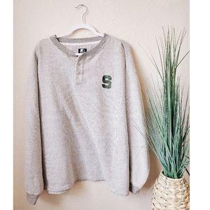 MICHIGAN STATE Quarter Button Pullover Sweater XL
